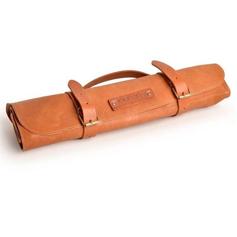 9-Messer-Tasche aus Vintageleder in cognac