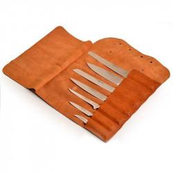 Manta cuero vintage Cognac para 9 cuchillos