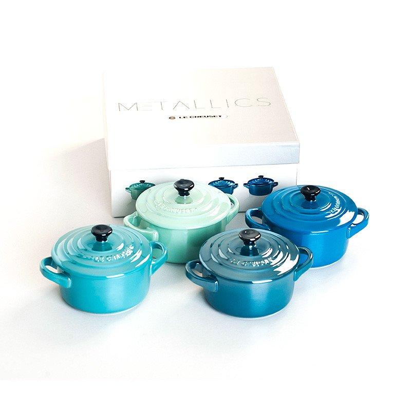 Mini cocottes metallics azules y verdes de Le Creuset